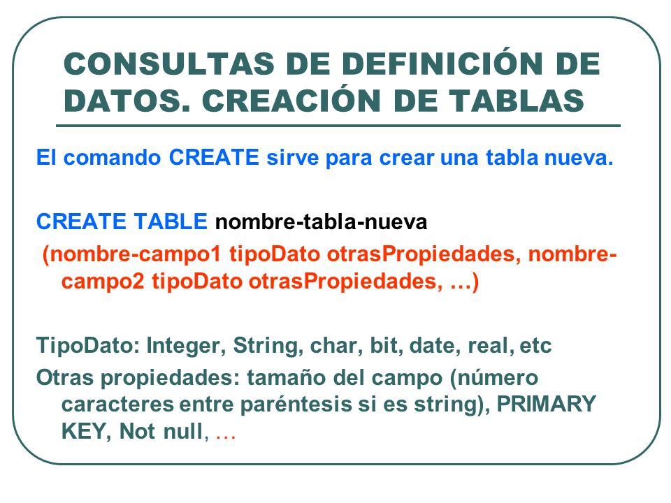 CONSULTAS DE DEFINICIÓN DE DATOS. CREACIÓN DE TABLAS
