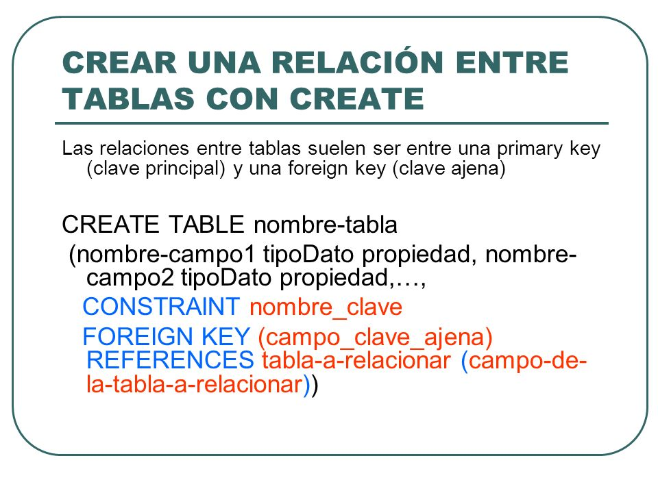 CREAR UNA RELACIÓN ENTRE TABLAS CON CREATE