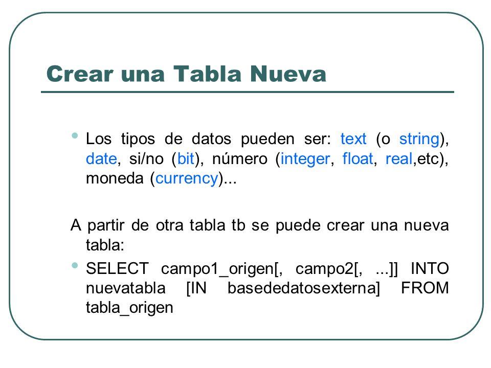 Crear una Tabla Nueva Los tipos de datos pueden ser: text (o string), date, si/no (bit), número (integer, float, real,etc), moneda (currency)...