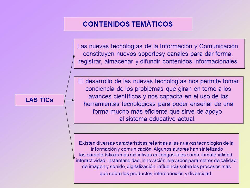 CONTENIDOS TEMÁTICOS Las nuevas tecnologías de la Información y Comunicación. constituyen nuevos soportesy canales para dar forma,