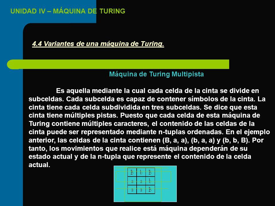 4.4 Variantes de una máquina de Turing. Máquina de Turing Multipista