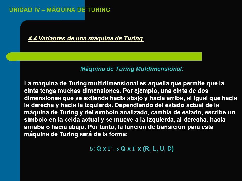 4.4 Variantes de una máquina de Turing.