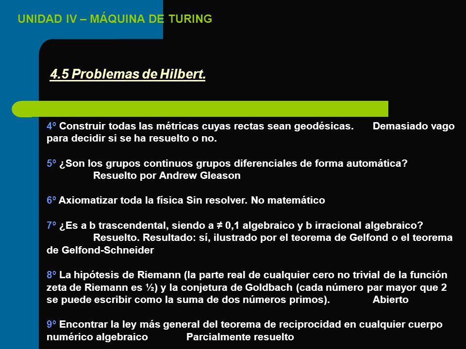 4.5 Problemas de Hilbert. 4º Construir todas las métricas cuyas rectas sean geodésicas. Demasiado vago para decidir si se ha resuelto o no.