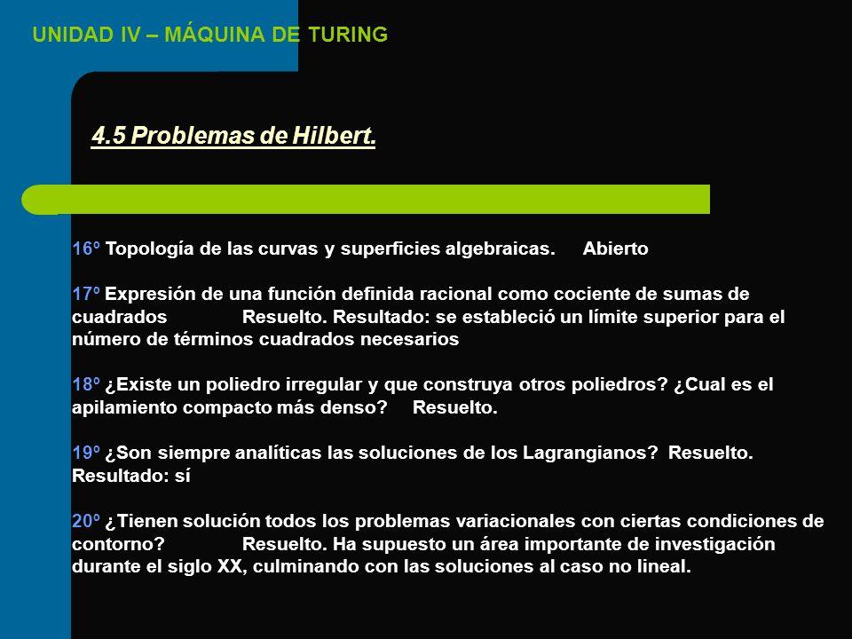 4.5 Problemas de Hilbert. 16º Topología de las curvas y superficies algebraicas. Abierto.