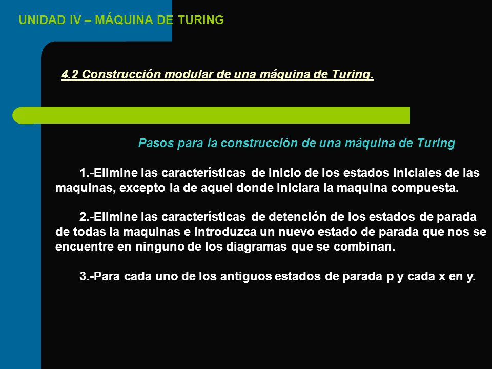 Pasos para la construcción de una máquina de Turing