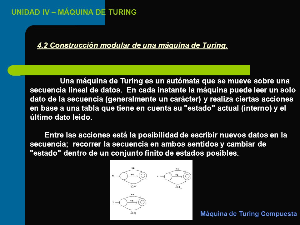 4.2 Construcción modular de una máquina de Turing.