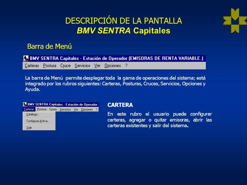 DESCRIPCIÓN DE LA PANTALLA BMV SENTRA Capitales