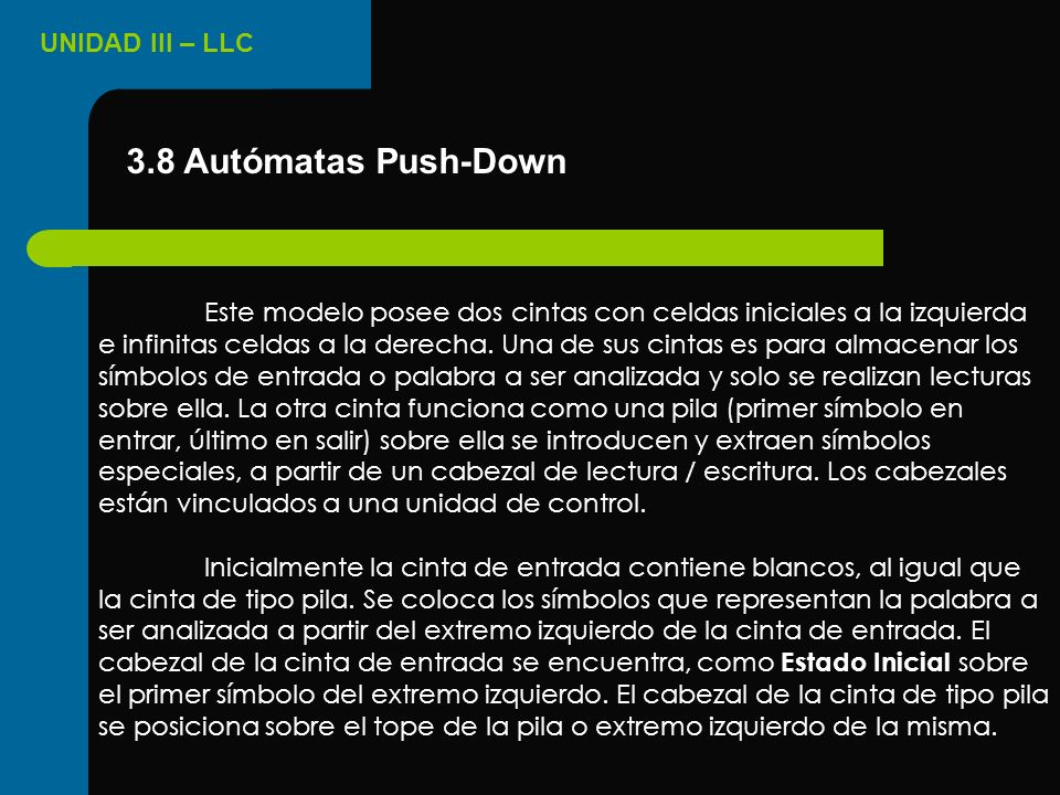 3.8 Autómatas Push-Down