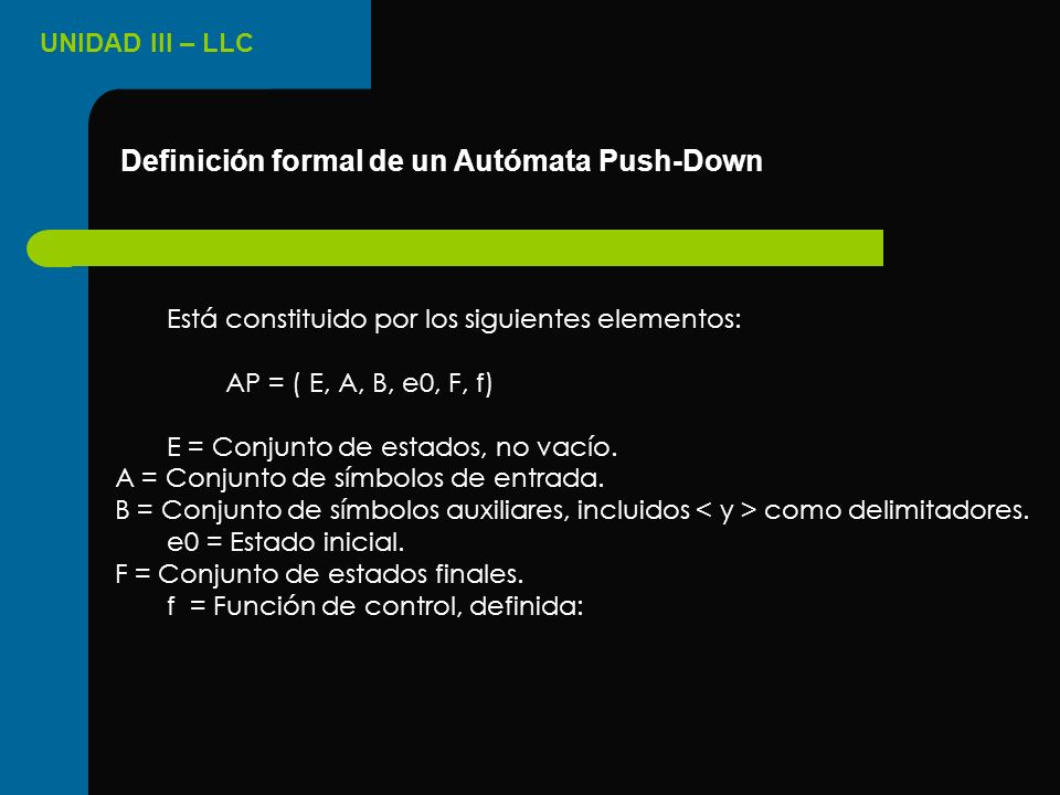 Definición formal de un Autómata Push-Down