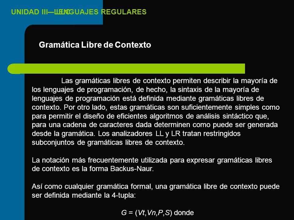 Gramática Libre de Contexto