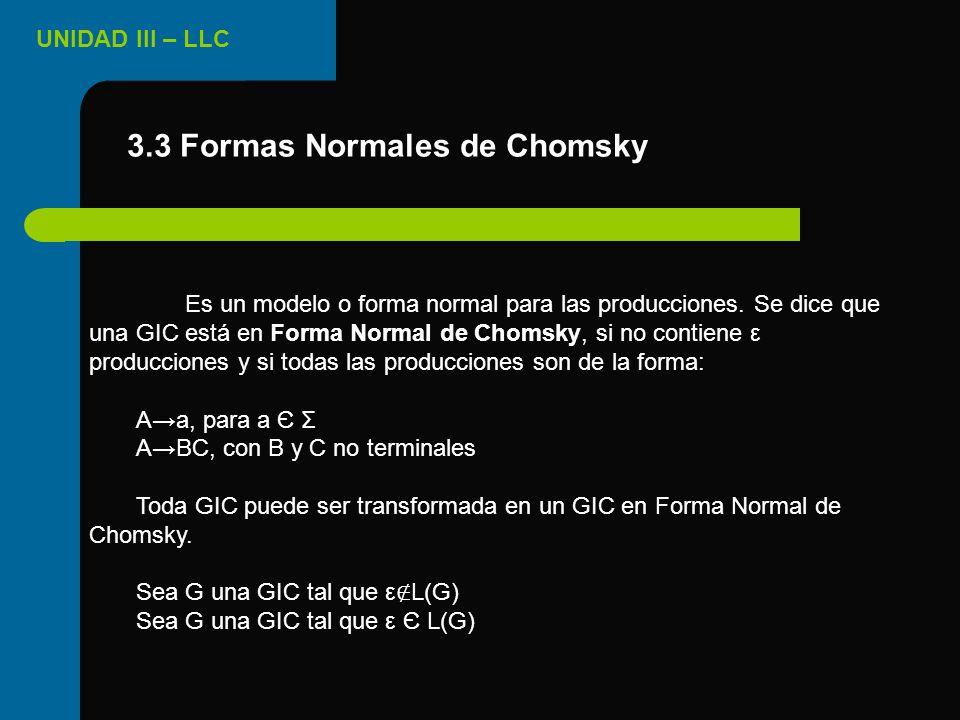 3.3 Formas Normales de Chomsky