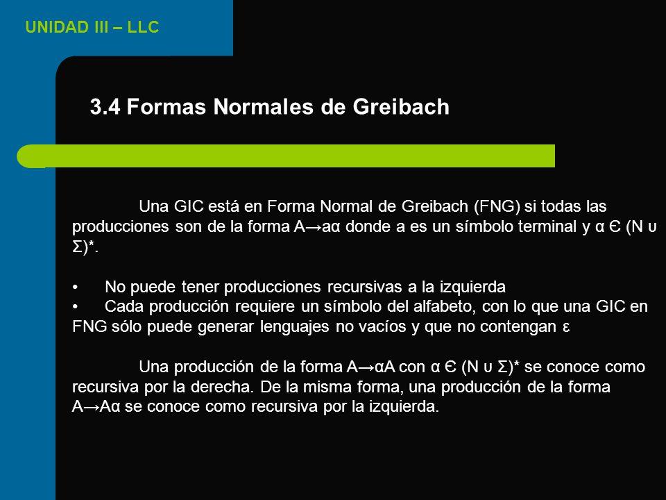 3.4 Formas Normales de Greibach
