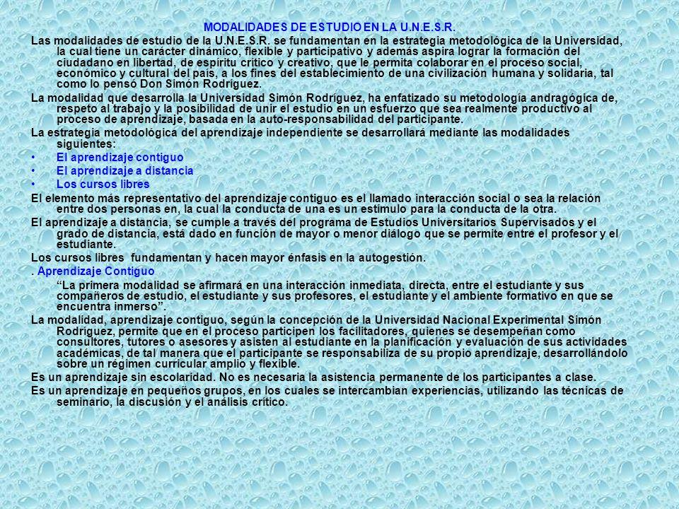 MODALIDADES DE ESTUDIO EN LA U.N.E.S.R.