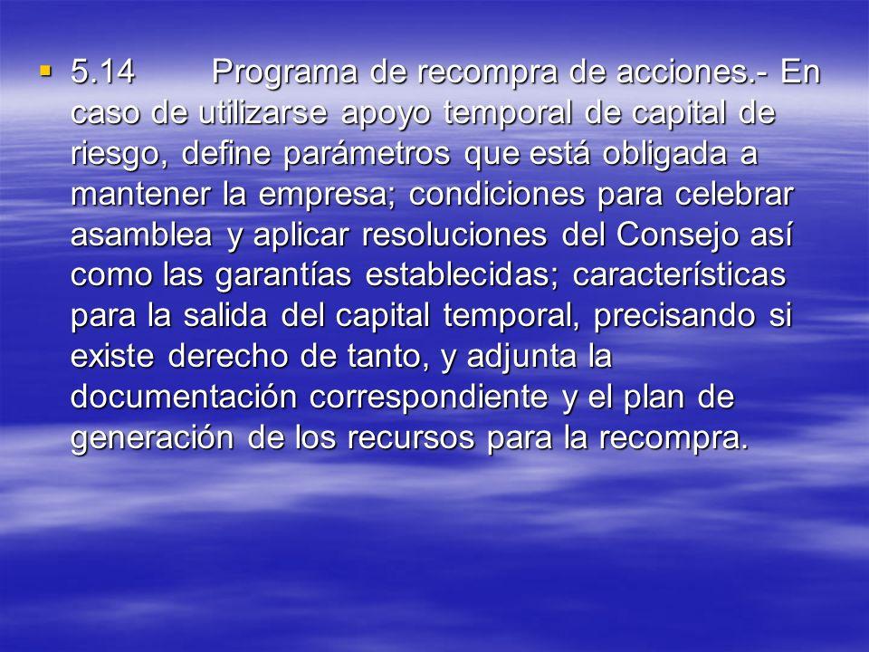 5. 14. Programa de recompra de acciones