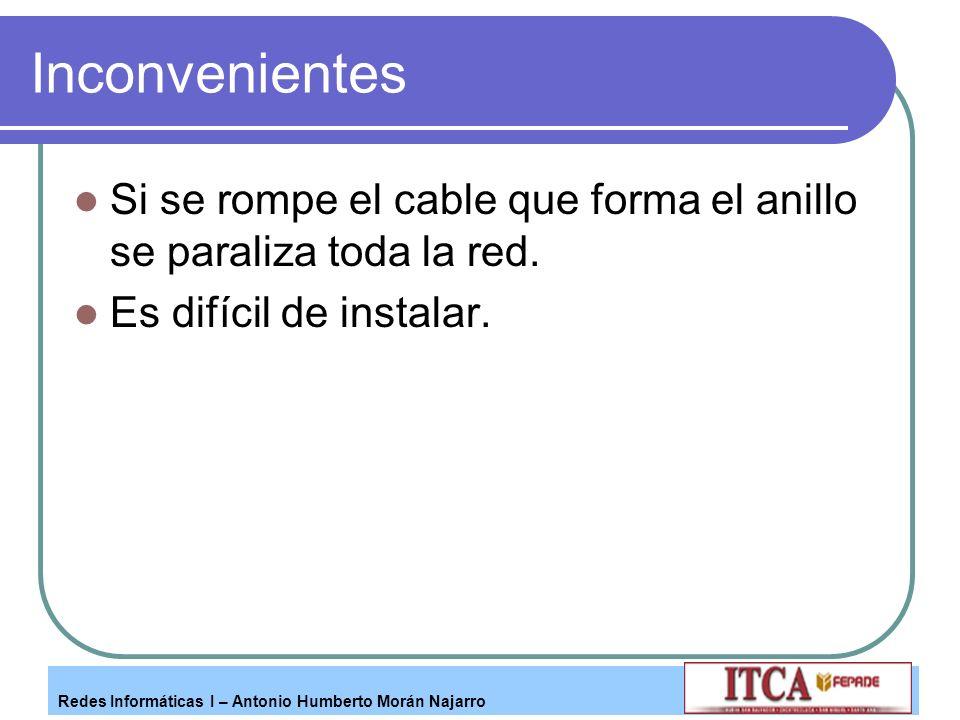 Inconvenientes Si se rompe el cable que forma el anillo se paraliza toda la red.
