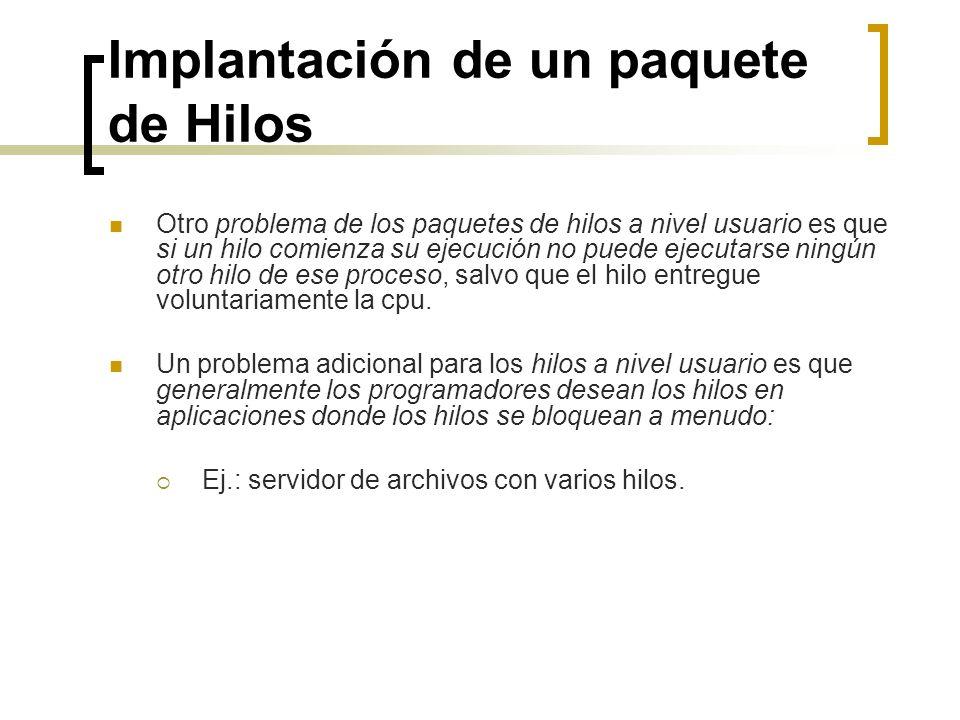 Implantación de un paquete de Hilos