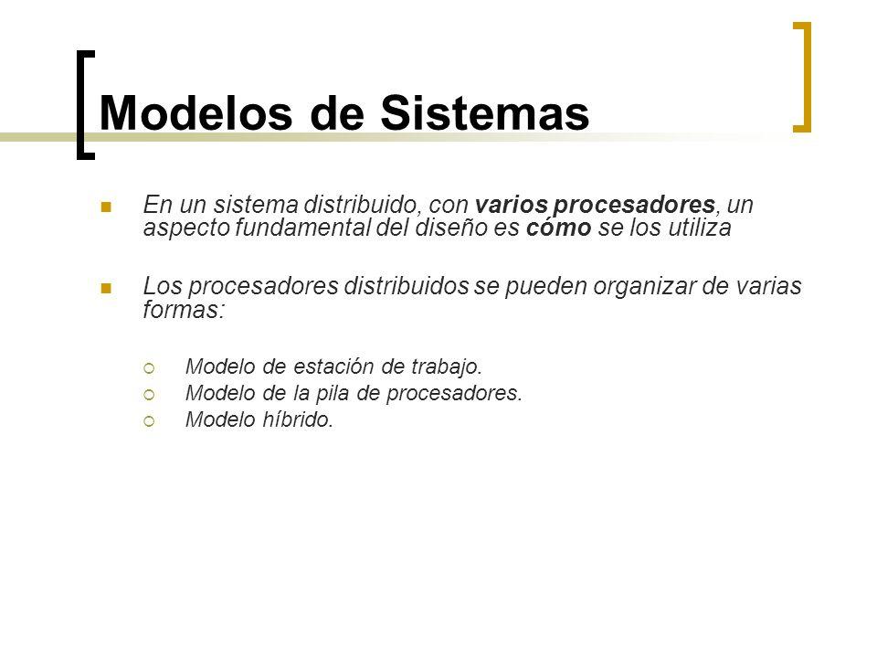 Modelos de Sistemas En un sistema distribuido, con varios procesadores, un aspecto fundamental del diseño es cómo se los utiliza.