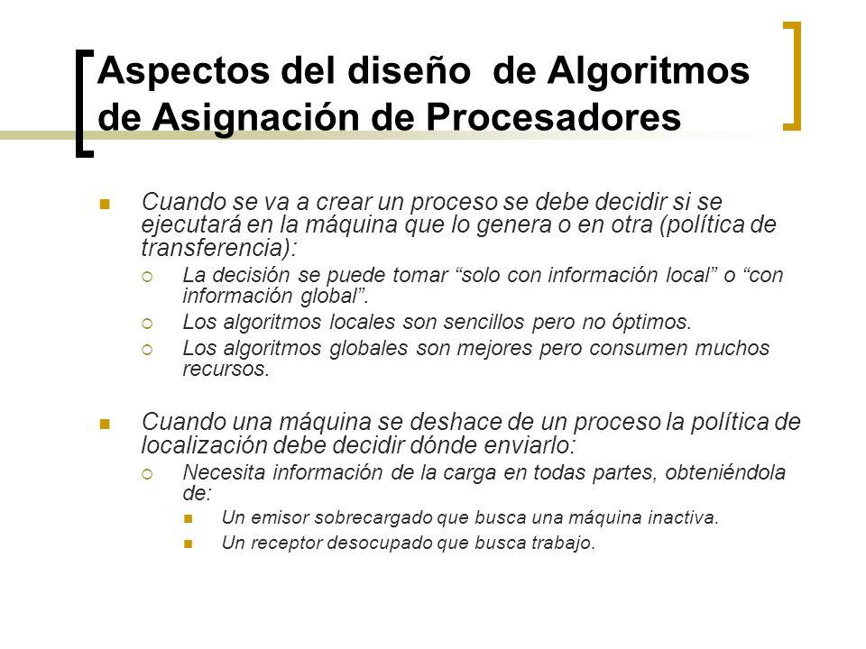 Aspectos del diseño de Algoritmos de Asignación de Procesadores