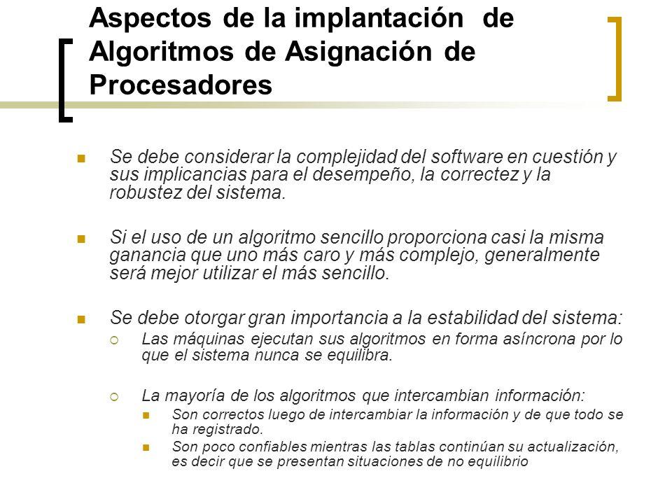 Aspectos de la implantación de Algoritmos de Asignación de Procesadores