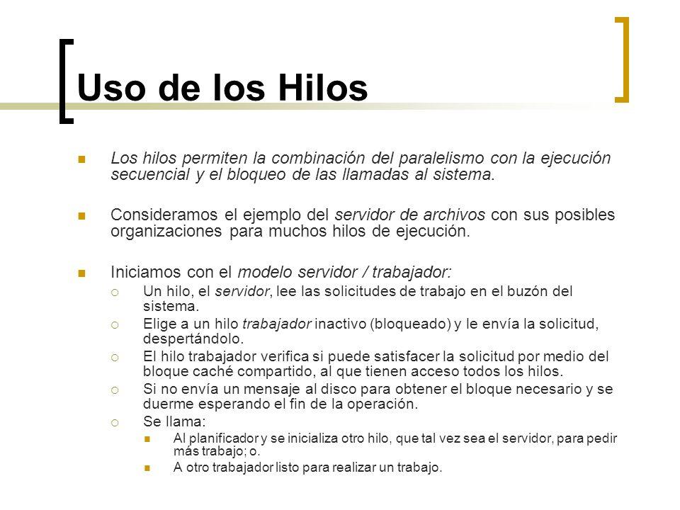 Uso de los HilosLos hilos permiten la combinación del paralelismo con la ejecución secuencial y el bloqueo de las llamadas al sistema.