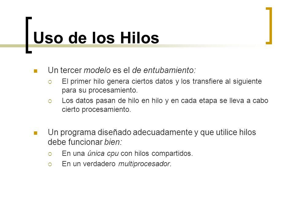 Uso de los Hilos Un tercer modelo es el de entubamiento: