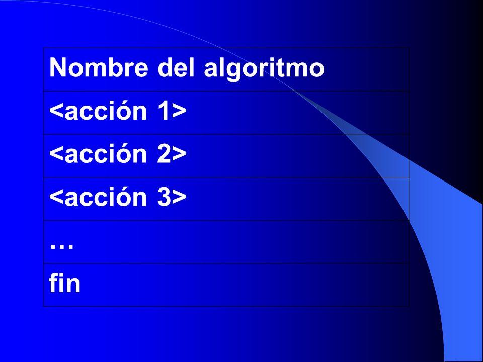 Nombre del algoritmo <acción 1> <acción 2> <acción 3> … fin