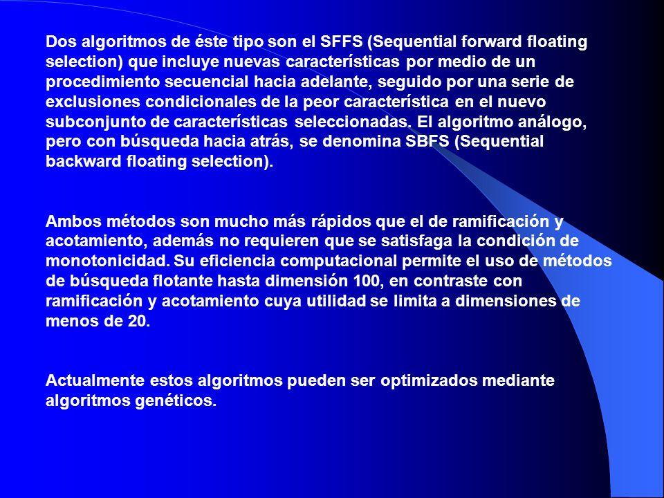 Dos algoritmos de éste tipo son el SFFS (Sequential forward floating selection) que incluye nuevas características por medio de un procedimiento secuencial hacia adelante, seguido por una serie de exclusiones condicionales de la peor característica en el nuevo subconjunto de características seleccionadas. El algoritmo análogo, pero con búsqueda hacia atrás, se denomina SBFS (Sequential backward floating selection).