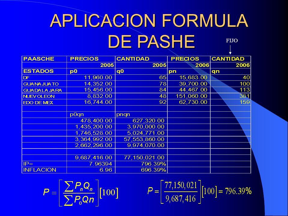 APLICACION FORMULA DE PASHE FIJO