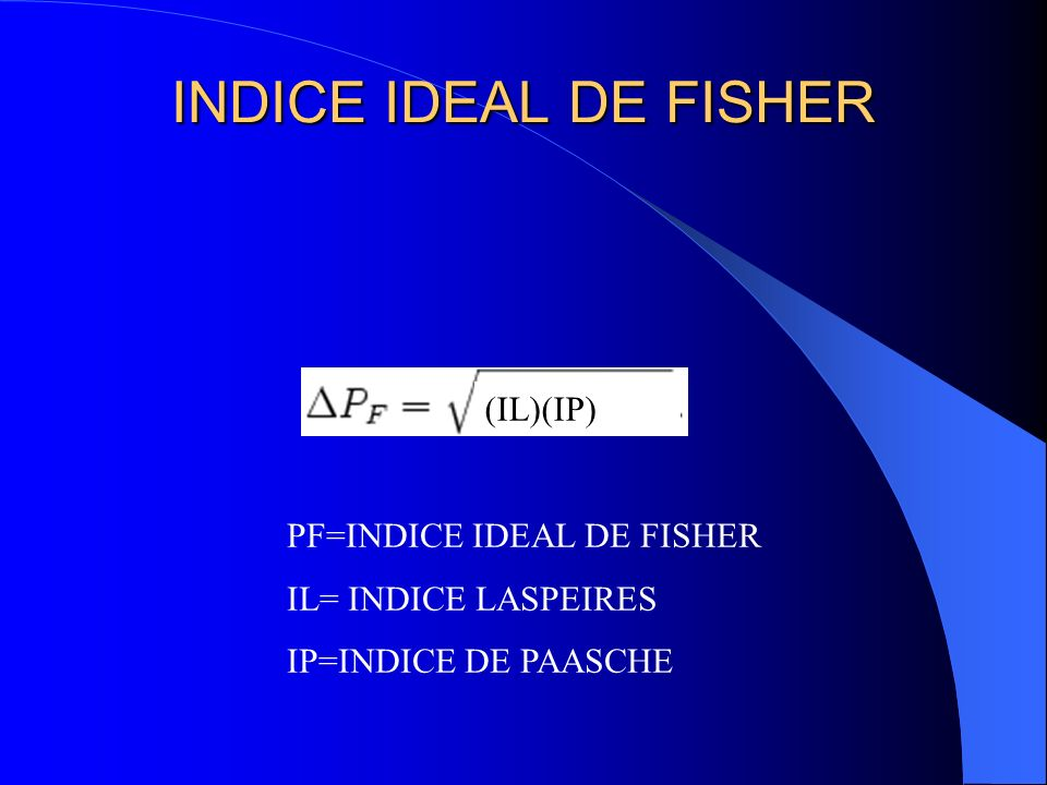 INDICE IDEAL DE FISHER (IL)(IP) PF=INDICE IDEAL DE FISHER