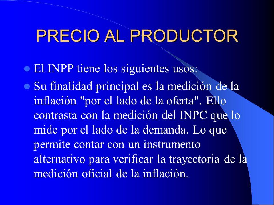 PRECIO AL PRODUCTOR El INPP tiene los siguientes usos: