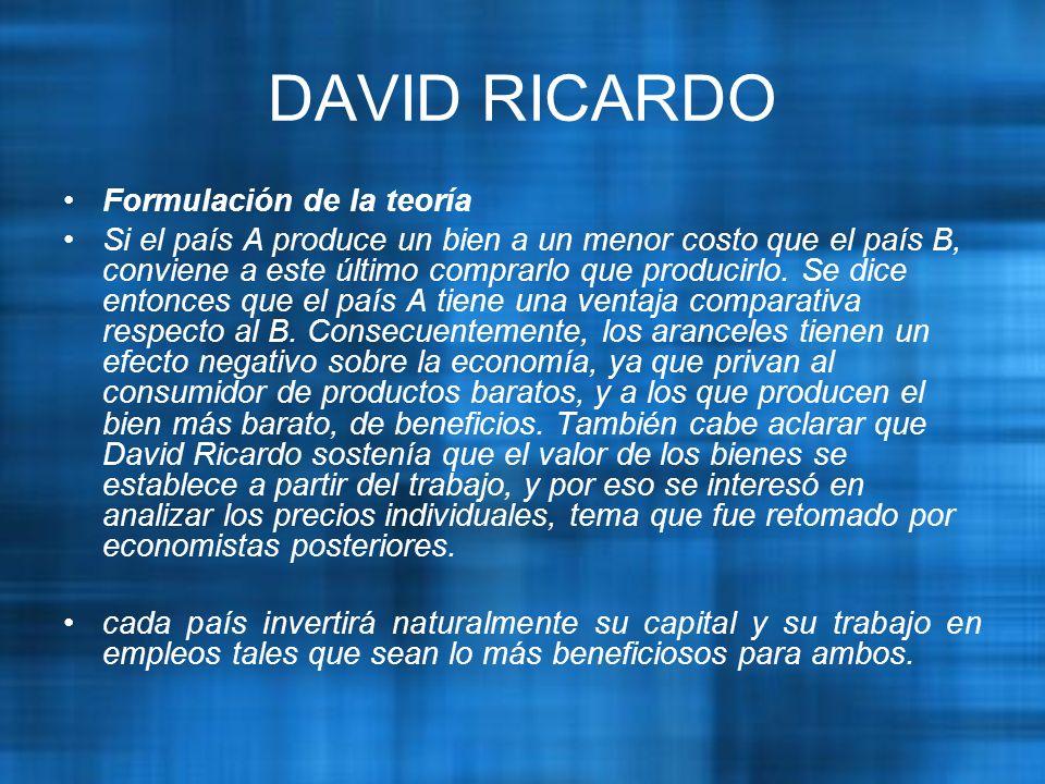 DAVID RICARDO Formulación de la teoría