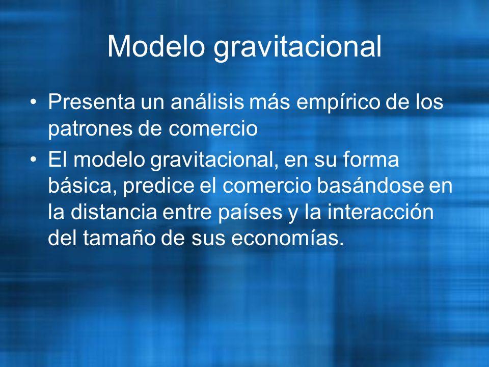Modelo gravitacional Presenta un análisis más empírico de los patrones de comercio.