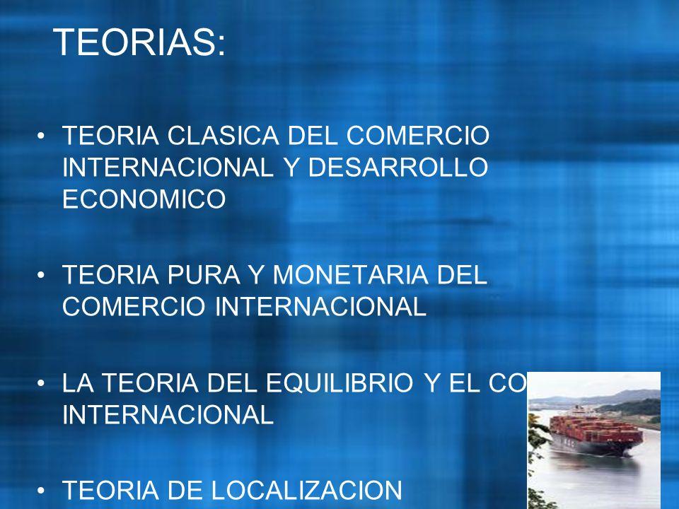 TEORIAS: TEORIA CLASICA DEL COMERCIO INTERNACIONAL Y DESARROLLO ECONOMICO. TEORIA PURA Y MONETARIA DEL COMERCIO INTERNACIONAL.