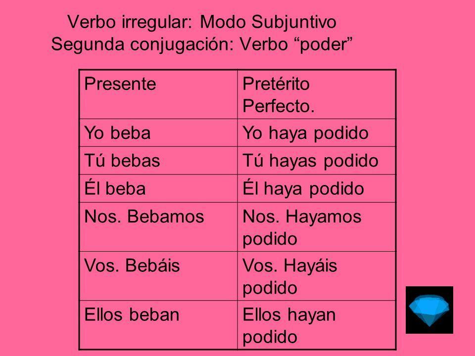 Verbo irregular: Modo Subjuntivo Segunda conjugación: Verbo poder