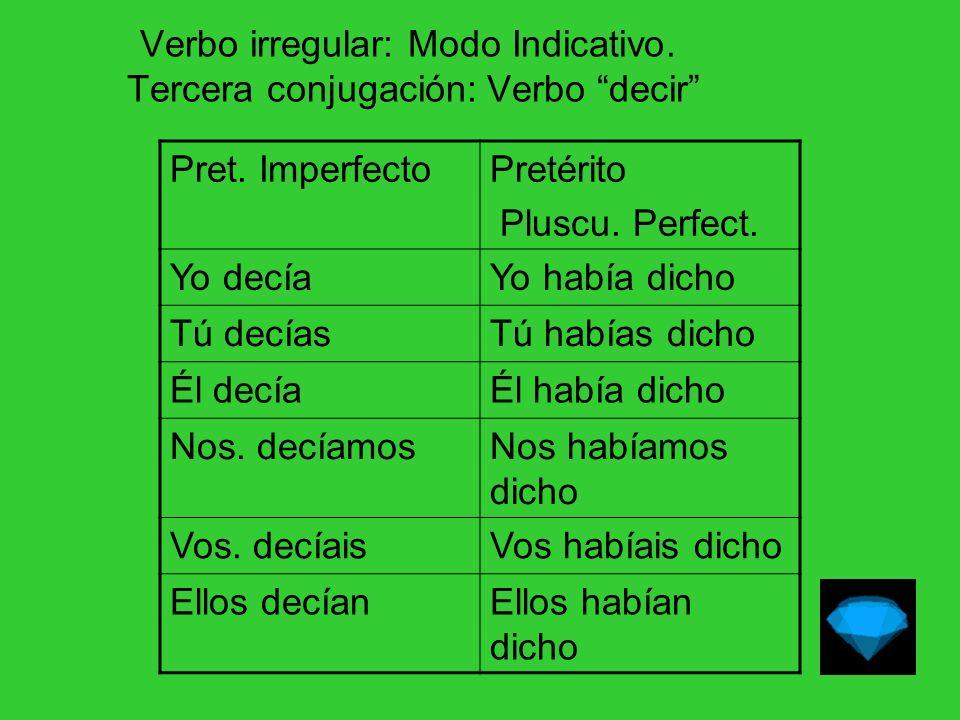 Verbo irregular: Modo Indicativo. Tercera conjugación: Verbo decir