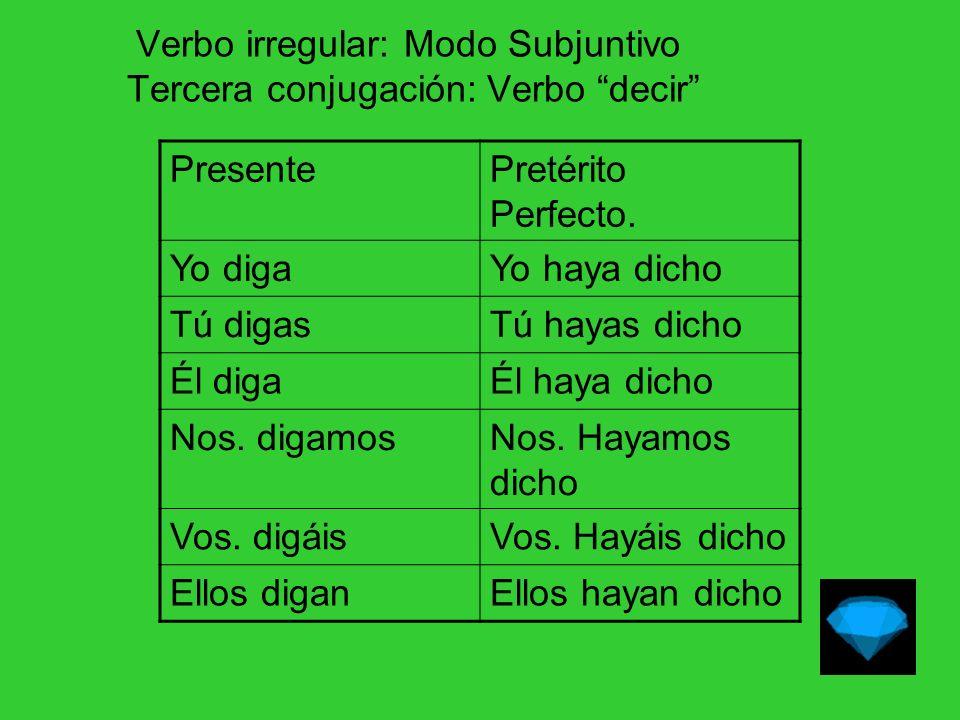 Verbo irregular: Modo Subjuntivo Tercera conjugación: Verbo decir