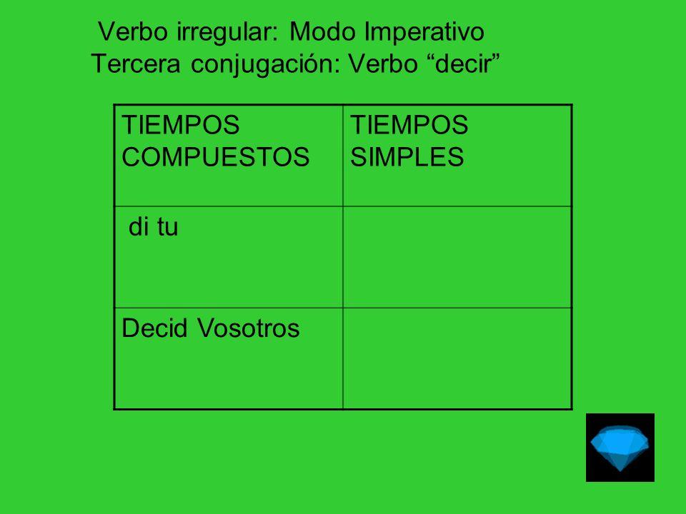 Verbo irregular: Modo Imperativo Tercera conjugación: Verbo decir