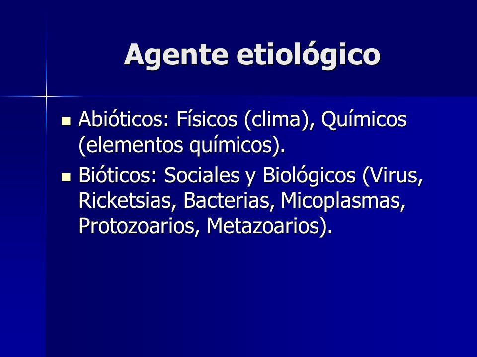 Agente etiológico Abióticos: Físicos (clima), Químicos (elementos químicos).