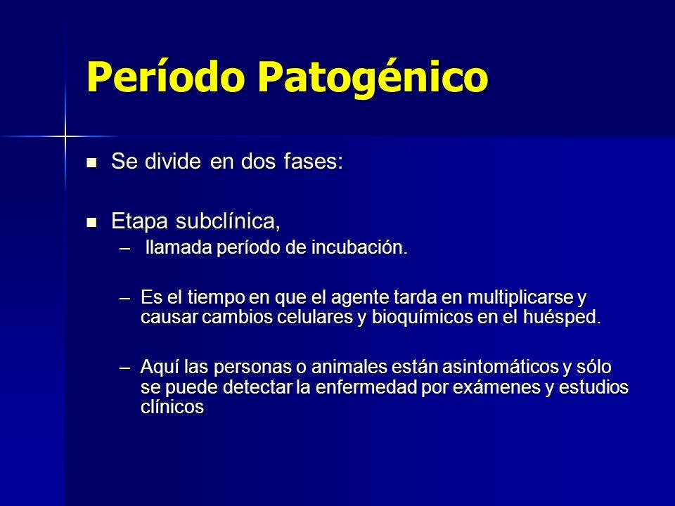 Período Patogénico Se divide en dos fases: Etapa subclínica,