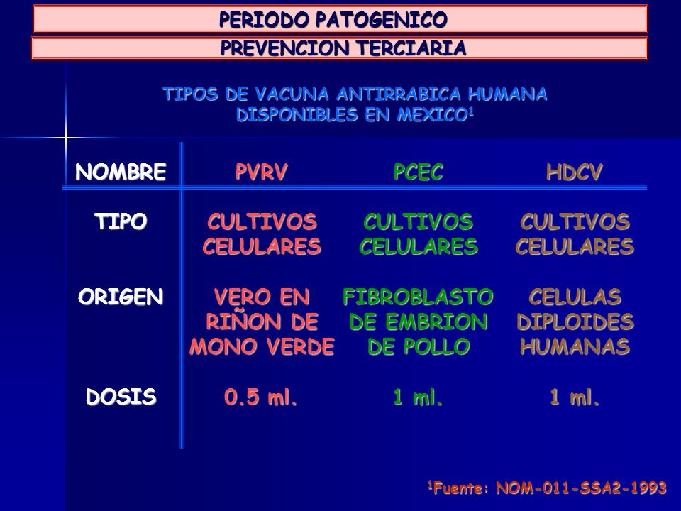 TIPOS DE VACUNA ANTIRRABICA HUMANA DISPONIBLES EN MEXICO1