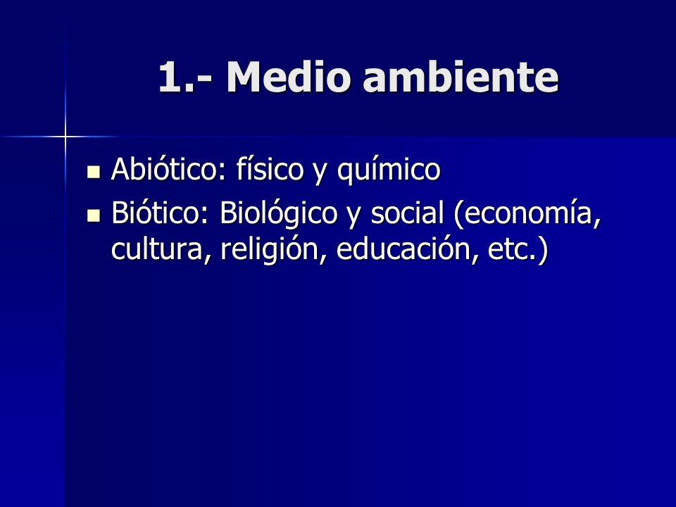 1.- Medio ambiente Abiótico: físico y químico