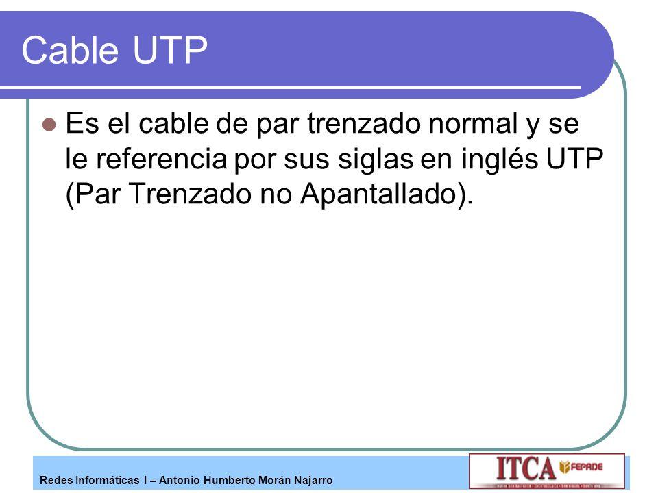 Cable UTP Es el cable de par trenzado normal y se le referencia por sus siglas en inglés UTP (Par Trenzado no Apantallado).