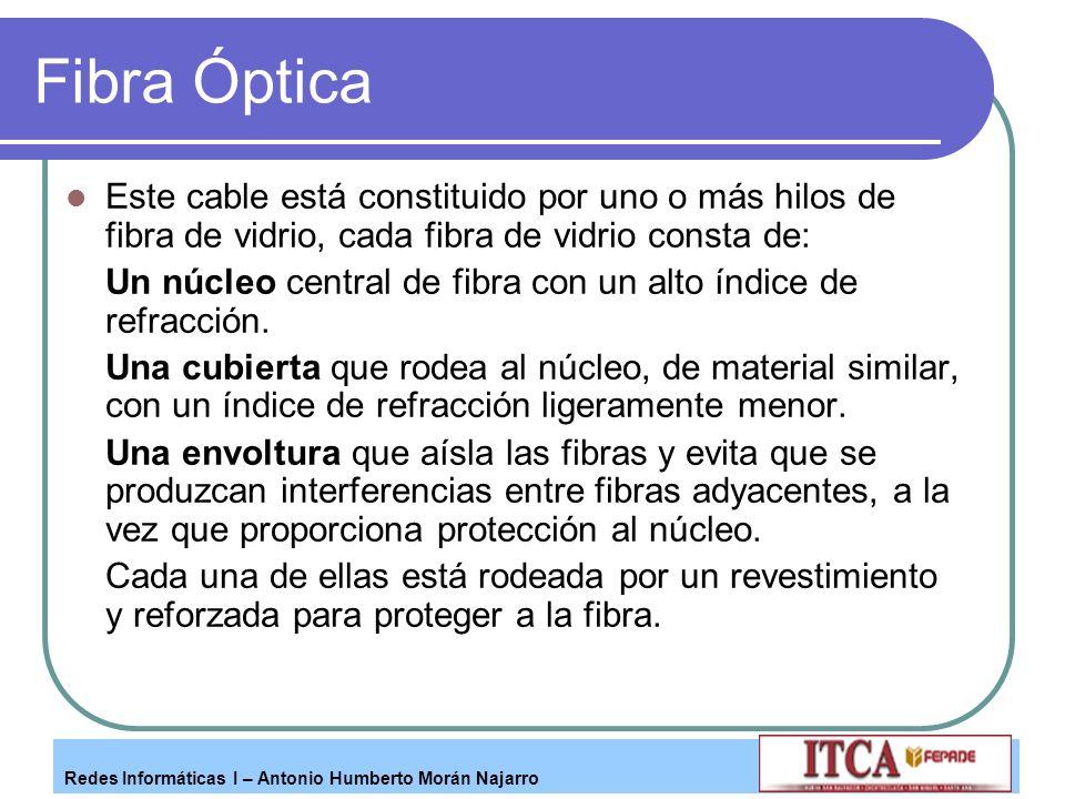 Fibra Óptica Este cable está constituido por uno o más hilos de fibra de vidrio, cada fibra de vidrio consta de: