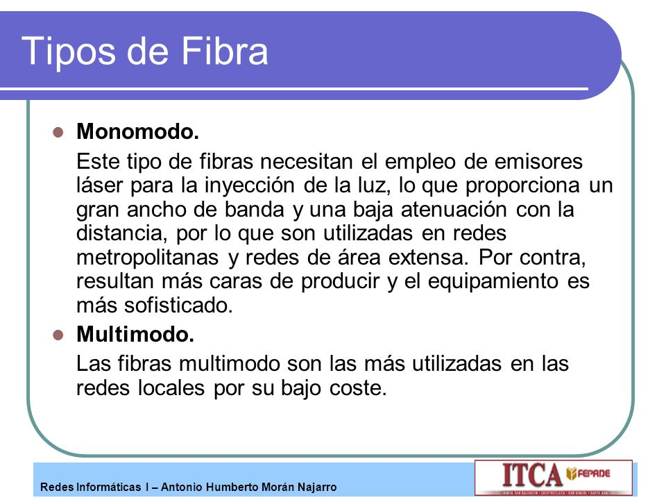 Tipos de Fibra Monomodo.