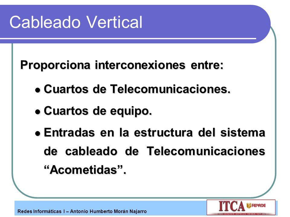 Cableado Vertical Proporciona interconexiones entre: