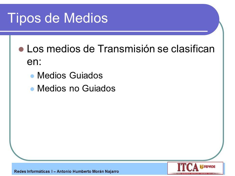 Tipos de Medios Los medios de Transmisión se clasifican en: