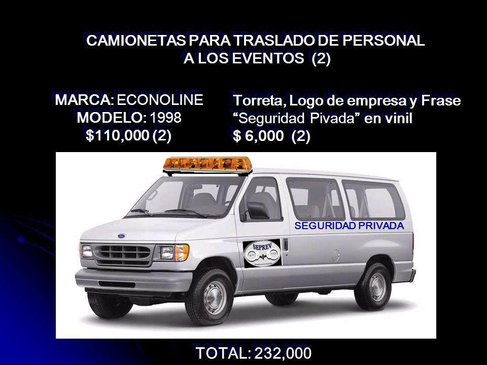 CAMIONETAS PARA TRASLADO DE PERSONAL
