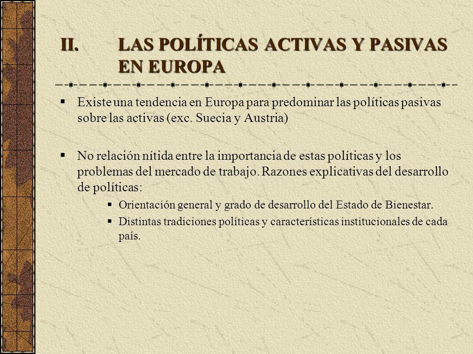 LAS POLÍTICAS ACTIVAS Y PASIVAS EN EUROPA
