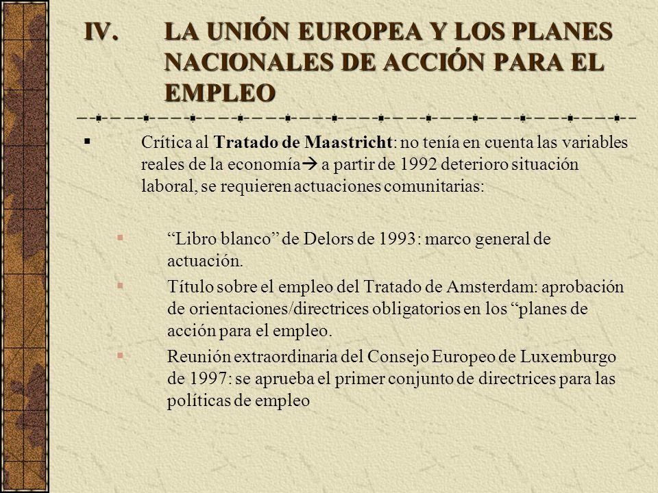 LA UNIÓN EUROPEA Y LOS PLANES NACIONALES DE ACCIÓN PARA EL EMPLEO