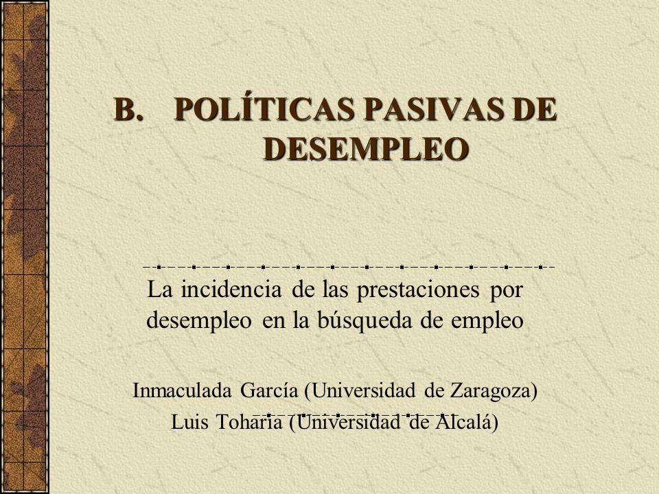 POLÍTICAS PASIVAS DE DESEMPLEO
